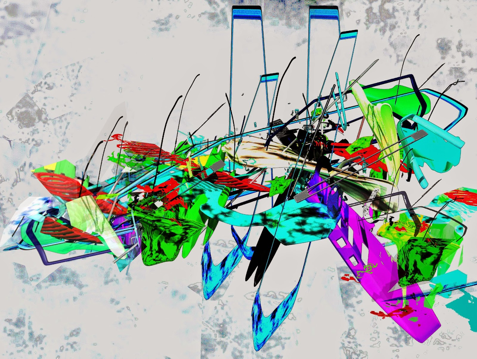 Ryota Matsumoto, Distant Plaine Mixed Media, 2013, 42cmx59cm, acrilico, software grafici, algoritmici e video.